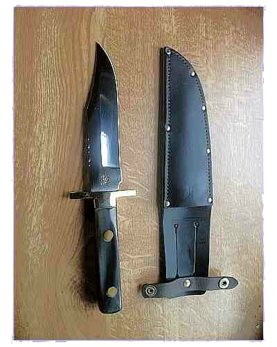 6 Inch Buffalo Bowie Knife With Scale Tang - A. Wright