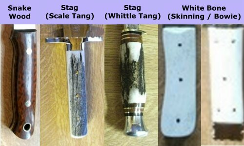 Bowie Knife Handle Types - Snakewood - Stag - White Bone