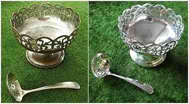 re silver plated sugar bowl before & after